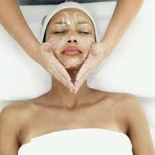 Diamond microdermabrasion facial skin exfoliation.