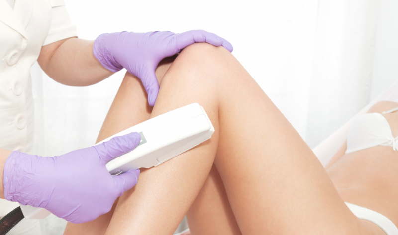 Lower leg area laser hair removal on a patient.